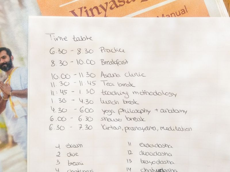 Tagesplan in der Yogalehrer-Ausbildung in Indien