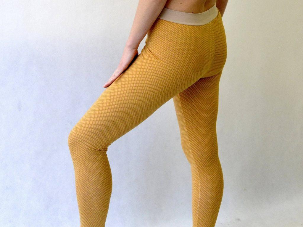 Senf-farbene Yoga Hose aus Baumwolle
